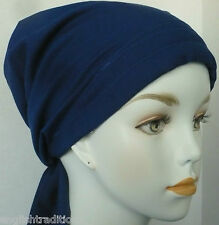 Solid Royal Blue Cancer Chemo Head Wrap Hat 100% Cotton Hair Loss Scarves