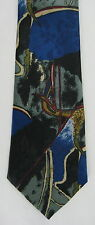 FloRence & K Mens Neck Tie Necktie Polyester Blue Black Gray Gold Red Abstract