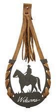 Cowboy Male Rider Horseshoe Horse Welcome Sign Black