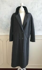 Vintage ST.MICHAEL Grey Velvet Collar Double Breasted Wool Winter Trench Coat L