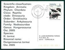 Spain dinosaur 2012 dinosaure dinosaurios Custom Stamp-only 5 cards made! ch36