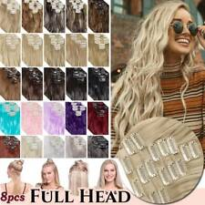 Real Thick 8pcs Complete FULL HEAD as Natural Human Clip in Hair Extensions