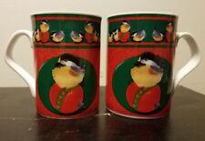 """Valerie Pfeiffer Chickadee Christmas Mug set of 2, 3 7/8"""", Innovation, Excellent"""