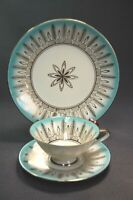 Bareuther Bavaria Germany Turquoise & Gold 3PC Plate, Tea Cup & Saucer 1950's