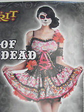 Adult Day of The Dead Dress Costume w/ skull fishnet tights siz3 large 12-14
