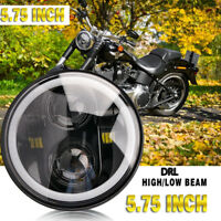 5.75'' 60W Moto Phare Projecteur LED Headlight Lamp Halo Angel Pour Jeep Harley