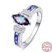 AAA Rainbow Topaz & Swiss Blue Topaz & Amethyst 100% S925 Sterling Silver Ring