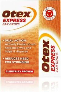 Otex Express Ear Drops for Hardened Ear Wax, 10ml NEW -  FREE POST