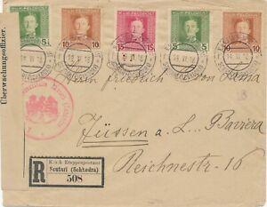 ALBANIA  1918 REGISTERED COVER SCHKODRA KuK FELDPOST 5 STAMPS CENSORED FUSSEN