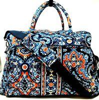 VERA BRADLEY Large Weekender Travel Bag In Marrakesh Blue Orange Retired