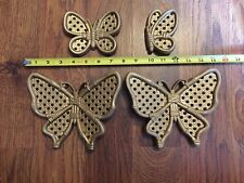 Home Interiors Wall Plaques Butterflies Set of 4 Wicker Look painted Gold EUC
