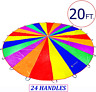 Play Parachute for Kids 20 ft with 24 Dirt Resistant Handles Outdoor Parachute