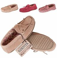 Nordvek Ladies Fabric Lined Sheepskin Suede Moccasin Slippers Hard Sole Womens