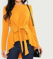 Round Neck Long Sleeve Self Belted Asymmetrical Hem Blouse Top Casual Work