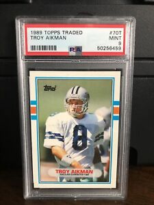 1989 Topps Traded Troy Aikman Rookie Football Card #70T PSA 9 Mint