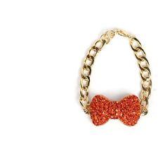 Gold Bracelet with Orange Rhinestone Bow