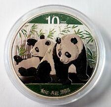 10 Yuan China Panda 2010 - 1 Unze Silber stgl./bu farbig in Kapsel