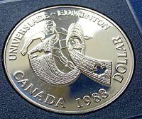 1983 Canada Coin $1 Dollar Elizabeth II World University Games Silver KM# 138