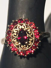 9ct Solid Yellow Gold Garnet Cluster Ring inc Valuation $815 BARGAIN! 152527P