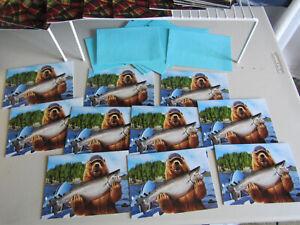 Lot of 11 Bear Fishing w/ Fish  Dad Father's Day Card Greeting Avanti Press USA