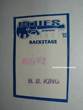 B B KING Concert BACKSTAGE PASS 1993 BLUES FESTIVAL STAR LAKE Not Ticket RARE