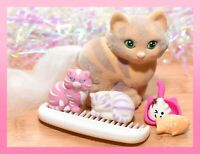 ❤️Vtg Li'l Lil Litters My Little Kitty Pony MLP HAPPY TABBY Cat Mommy Baby❤️