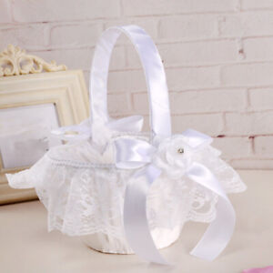 Satin Silk Lace Bowknot Small Flower Basket Girl Basket Wedding Petals Decor