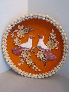 Vintage Sea Shell Birds & Flower Picture Folk Art on Orange. Round Basket Frame