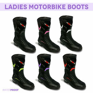 Ladies Motorbike Motorcycle Leather Shoes Waterproof Racing Boot Armored protect