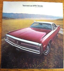 1970 Chrysler Prestige Color Brochure, New Yorker Newport 300 T&C Original Xlnt