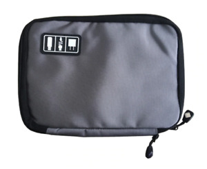 Large Cable Organiser Bag USB Charger Accessories Case Gadget Pouch *GREY* UK