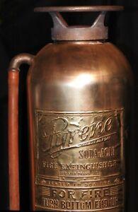 Vintage Copper & Brass Pyrene Soda Acid Fire Extinguisher