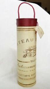 Beautiful WINE Bottle Gift BOX TUBE Carrier FRANCE Theme Creme & Dark Red Colors
