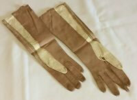 "Vintage Ladies Size 6 1/2 Tan/Cream Kid Leather Gloves Aris Of Paris 15"" France"