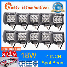 10X 4inch 18W LED WORK LIGHT BAR SPOT CUBE PODS LIGHT OFFROAD ATV ROOF LAMP SALE