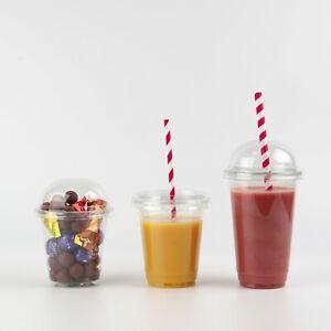 Smoothie Cups & Domed Lids Plastic Clear Party Cup- Juice, Slush, Milkshake etc.