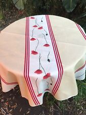 """NEW French Imported Provence Red Poppies 62""""Round Polyester Tablecloth"""