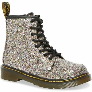 Dr Martens 1460J 1460Y SILVER MULTI Glitter Lace up boots with zip