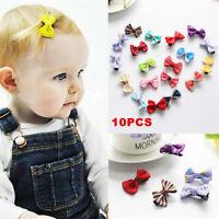 20pcs Kinder Baby Mädchen Bogen Band Haarschleife Mini Latch Clips Haarspan W9X2