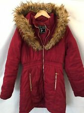 Womens Baby Phat Puffer Coat With Faux Fur Hood Sz Medium