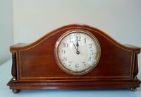 Edwardian mantel clock with mahogany case string inlay time piece in excellent c