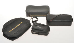 Lot of 4 ready cases for submniature cameras, Viscawide, Mamiya 16....