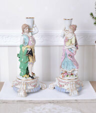 Two Candlesticks Porcelain Chandelier Candlehodlers Baroque Style
