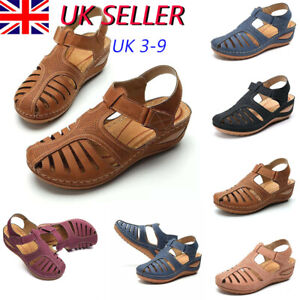 Ladies Womens Summer Low Wedge Sandals Orthopedic Closed Toe Slippers Shoes Size
