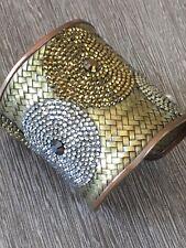 Deanna Hamro Jewelry Swarovski circles Pave Jewel cuff woven brass copper