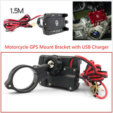 Adjustable 60-100mm CNC Motorcycle Handle Mount Holder USB Charger For Phone GPS