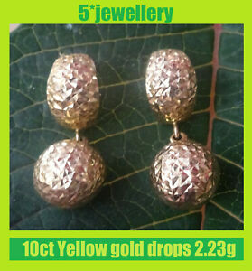 real new 10ct 14ct yellow gold dangling drop earrings studs & wire fittings
