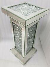 Mirrored Side End Table Square Sparkly Silver Diamond Crush Crystal Bevelled