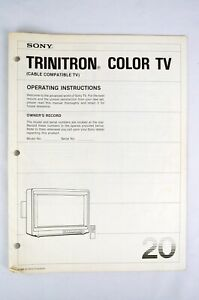 SONY TRINITRON COLOR TV - 20 INCH - CABLE COMPATIBLE - OPERATING INSTRUCTIONS