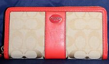 COACH - Legacy Sig Accordion Zip Wallet F48462 Lt Khaki / Bright Coral - NWT!